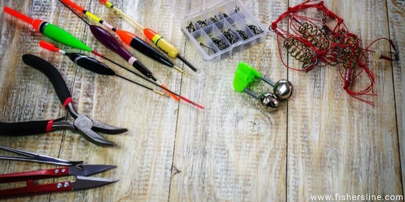 Fishing-tools-and-sinkers-on-the-table